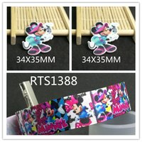 Wholesale Grosgrain Ribbon Mice - 7 8inch 50yard ribbon and 50pcs resin 1 set cartoon girl mouse character grosgrain printed ribbon and planar resin RTS1388
