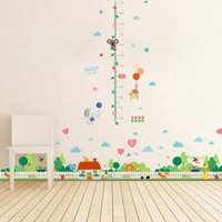 Wholesale Growth Up Chart - Grow up Monkey Animals Height Measurement Growth Chart flowers Wall Stickers for Kids Room Removable Vinyl Mural Art Wall Decal