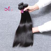 makine atkı bakire saç toptan satış-6A Brezilyalı İnsan Saç Düz Saç Örgüleri 3 Demetleri Bakire 1B Doğal Siyah Renk Makinesi Çift Atkı İnsan Saç Remy Uzantıları örgüleri