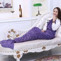 Wholesale handmade crochet fish - Mermaid blanket air conditioning TV blanket handmade sofa soft scale pattern fish tail blankets