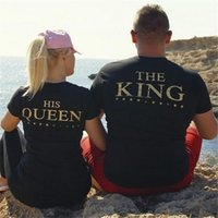 Wholesale 2017 HOT Fashion King HIS Queen Crowns T shirts Black Unisex Couple Lovers Short Sleeve Matching Couples His and Her T Shirts Tees