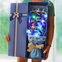 Wholesale Sell Wedding Bouquets - Wholesale-Hot Selling LED Light Up Cartoon Stitch Festivals Gift Bouquet For Valentine's Day   Birthday gift   Wedding with Gift Box