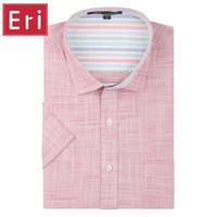 Wholesale Men S Linen Dress Shirts - Wholesale- Linen Men Dress Shirts 2017 New Non Iron Slim Fit Short Sleeve Brand Formal Business Fashion Casual Solid Shirts Social 3XL X068