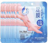 Wholesale bamboo whitening skin care for sale - Group buy New Hot Rolanjona Milk Bamboo Vinegar Feet Mask skin Peeling Exfoliating regimen for Feet care Professional Feet sox Mask