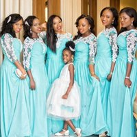 Wholesale Cheap Ice Blue Prom Dresses - African Ice Blue Bridesmaid Dresses Lace Long Sleeves Chiffon Wedding Party Dress Cheap Arabic Prom Gowns