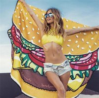 Wholesale TOP Round Beach Towel Pizza Hamburger Skull Ice Cream Smiley Pineapple Watermelon Round Shower Towel Blanket Shawl Polyester Styles cm