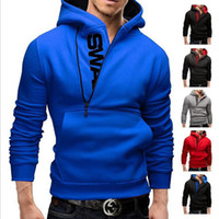 Wholesale Pure Blends - Men's Sweatshirt 2017 Autumn Men's Hooded Jacket Side Zipper Letters Printed Tops Sport Pure Color Sweatshirts