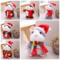 Wholesale 16cm Stuffed Animal - 6 Styles 16cm 6 inch Hamster Plush Toys Cartoon Can Talk and Nod Hamster Stuffed Animals for Baby Christmas Gift CCA7835 50pcs