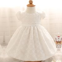 Купить Оптовые Платья Для Платьев-Summer Baby Girl Christening Gowns 1 2 Year Birthday Dress Tutu Wedding Baptism Dresses For Girl Baby Princess Party Costume
