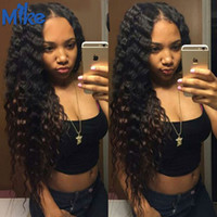 Wholesale 4pc Deep Wave - MikeHAIR Brazilian Malaysian Indian Peruvian Human Hair Weave Bundles Factory Cheap Curly Hair Weft 4Pc Deep Wave Remy Human Hair Extensions