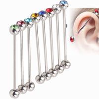 endüstriyel delici halkalar toptan satış-Endüstriyel kulak yüzük T32 MIX 11 renkler 100 Adet / grup paslanmaz çelik kristal piercing takı industril halter halka