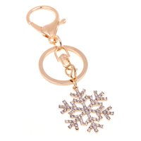Wholesale Bijoux Bag - 1pcs Xmas keychain for Keys Brief christmas snowflake with Rhinestone bag pendant for woman jewelry porta llaves bijoux