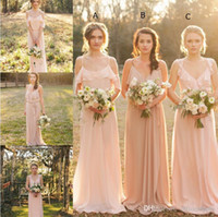 Wholesale Long Pretty Cheap Summer - Cheap Country Style 2017 Pretty Blush Bridesmaid Dress Mixed Style Blow Chiffon Boho Long Bridesmaid Dresses Beach Wedding Party Gowns