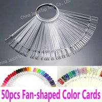 Wholesale String Shelf - Wholesale- 50 pcs Fan-shaped Nail Color Display Cards Nail Polish Showing Shelf Fan Color Palette Practice String Color Card Steel Ring
