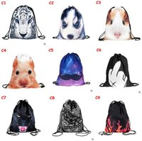 Wholesale Drawstring Backpack Animals - 2017 Cartoon Emoji Backpacks Bags Drawstring Bags Animal 3D Printed Unique Polyester Outdoors Travel Shoulder Pouch Storage Bags 89
