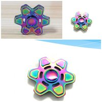 Wholesale Eva Long - Rainbow Color Fidget Spinner Alloy Metal Gyro Hand Spinners Hexagon Spinning Top Rotation Long Time Fingers Toys Compact 34jm B