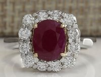 Wholesale Diamond Red Ruby Ring - 3.47CTW NATURAL RUBY AND DIAMOND RING 14K SOLID WHITE GOLD