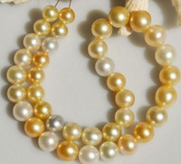Wholesale Huge Golden South Sea Pearls - New classic HUGE 18'12-13mm south sea genuine round white golden multicolor pearl necklace