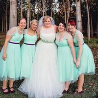 Wholesale mint tea length gown for sale - Group buy Newest Short Plus Size Bridesmaids Dresses Tea Length A Line Sash Party Gowns Cheap Custom Made Fashion Sweetheart Mint Green Sheer