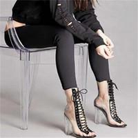 ingrosso sbirciare le donne sexy dei sandali di modo-Sandali da donna di moda Sexy PVC trasparente Peep Toe Lace Up Clear Block Tacchi robusti Stivaletto alla caviglia Taglia 35 a 40