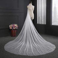Wholesale Women Wedding Veils - Long White 3 M Long 3 M Width Floor Length Tulle Bridal Wedding Veil Two Layers Luxury Women Overlong Wedding Bridal Veils