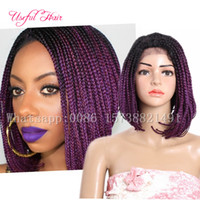 Wholesale Black Purple Short Wig - synthetic lace front wigs 14inch short lace frontal wig ombre 613,purple Bob wigs for black women synthetic Braided Wigs braiding hair