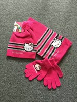 Wholesale Crochet Gloves For Baby - kids girl cute hello kitty caps bow tie cotton hat knitted for baby girl winter gloves crochet scarf warm wear soft wool cartoon clothes3pcs