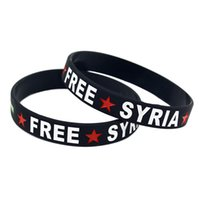 Wholesale free rubber wristbands for sale - Group buy 100PCS FREE SYRIA Revolutionary Flag Silicone Rubber Wristband Adult Size Ink Filled Logo Adult Size Colors