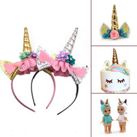 Wholesale Girls Fancy Party Dresses - Fashion Magical Girls Kids Decorative Unicorn Horn Head Fancy Party Hair Headband Fancy Dress Cosplay Costume Jewelry Gift A08