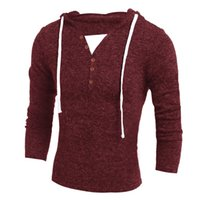 Wholesale Sweater Zipper Decoration - Wholesale- Sweater Pullover Men Slim Fit Long Sleeve V-Neck Men Sweaters Pullover Knitted Button Decoration Hedging Male Sweater XXL