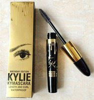 Wholesale Wholesale Dry Goods - 2017 Kylie Jenner Birthday Edition Kylie Mascara Black Natural Waterproof KYMASCARA Gold Packing Length and Curl Good Quality Free ship