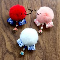 Wholesale Porcelain Child - New year Retro style baby girl blue and white porcelain rabbit hair ball hairpin Children Headwear Kids Hairpin Girls Baby Hair Accessory
