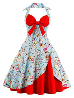 Wholesale Rockabilly Halter - 2017 Audrey Hepburn 1950 Rockabilly Casual Dresses Ball Gown Vintage Print Flowers Slim Knee Length Women Retro Dresses FS1404