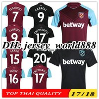 Wholesale Quality Ham - TOP QUALITY 17 18 West Ham United home soccer jersey FEGHOULI CARROLL SAKHO AYEW PAYET CHICHARITO 2017 2018 away black football shirts