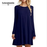 Wholesale Dress Autunm - Wholesale- Lescamania 2016 New Arrival Autunm Winter Women Fashion Casual Vestidos Dresses Loose Solid O-Neck Knee-Length Dress