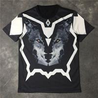 camiseta da camisa 3d venda por atacado-2017 verão marca de moda marca clothing mens marcelo burlon lobo 3d impressão t-shirt kanye west t shirt tee tshirt topos