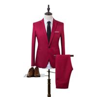 Wholesale Wedding Coat Designs For Men - Wholesale- 2017 New Designs Coat Pant Suit Men Solid Color Wedding Tuxedos For Men Slim Fit Mens Suits Korean Fashion (Jackets+Pants)