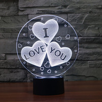 Wholesale Love Hearts Bedding - 7 Color Change 3D abstract vision amazing optical illusion Three-Heart I LOVE YOU 3D effect touch keys home decoration LED Table Lamp Night