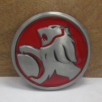 Wholesale lion buckle - BuckleHome Lion belt buckle with pewter finish with red enamel FP-03360-1 with continous stock free shipping