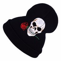 Wholesale Knitted Hats Ball Pattern - Fashion Winter Elastic Caps Christmas Gift Embroidery Skull And Rose Pattern Punk Wool Hedging Cap Beanies Knitted Hats