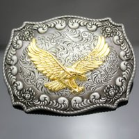 Wholesale Bird Belt - Western Antique Silver Engraved Flower Gold Bird of Prey 3D Eagle Belt Buckle