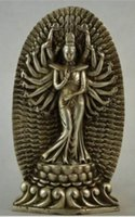 Wholesale Hand Decorated Christmas Ornaments - christmas decorations for home+ Rare Decorated Handwork Tibet Silver Carving Hands Kwan Yin Statue Free Shipping