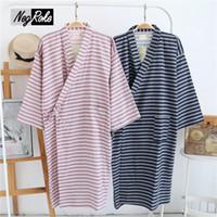 Wholesale Pajamas For Couples - Summer fashion 100% cotton japan kimono robes women sleepshirts bathrobe for women casual spa robes sleepwear couple pajamas