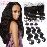 Wholesale One Piece Human - BD Body Wave Lace Frontal Closure Human Hair Lace Closure Three Pieces Bundles Within One 13*4.5 Lace Closure