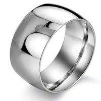 Wholesale simple silver rings for men - Hot Selling Rings Stainless Steel Silver Fashion Simple Wide Finger Rings For Men Fashion Mens Jewelry Wedding Band New