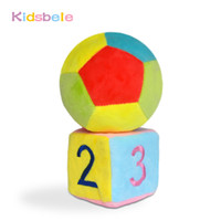 Wholesale cloth cubes - Wholesale- Baby Toys Soft Cloth Rattle Mobile Crib Stroller Toys 1PCS Cube+1PCS Ball Handbell Newborn Educational Colorful Infant Bebe Toys