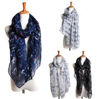 Wholesale Large Shawl Wrap - Wholesale- 2017 Women's Autumn Winter Voile Scarves Bicycle Pattern Print Scarf Wraps Shawl Long Large Soft Stole Scarves 190*80cm Bufandas