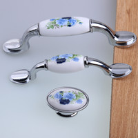 Wholesale 76mm mm mm modern fashion rural ceramic furniture handles white and blue silver tv cabinet drawer dresser handle pull knob