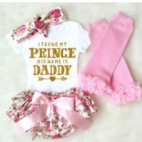 Wholesale Girls Summer Pants Floral - HOT Baby Girls Sets Summer Floral Gold Glitter Prince Romper Flower Brief Pants Shorts Bow Headband Tights Socks 4pcs Set Suits Pink A6578