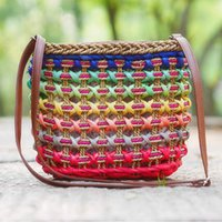 Wholesale Crochet Mobile - Candy color mobile packet straw bag Aquatic plants weave hollow out straw bags Ms aslant package